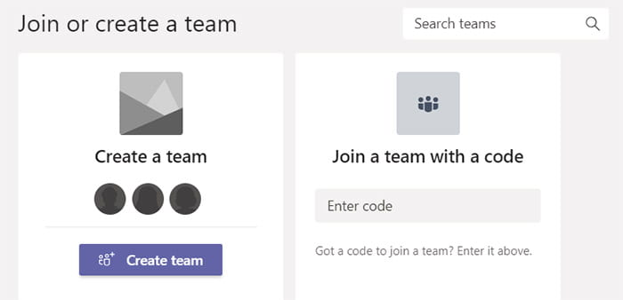Microsoft Teams joining code entry