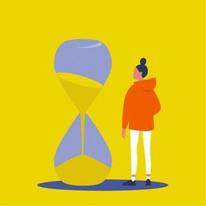 Graphic of student with egg timer