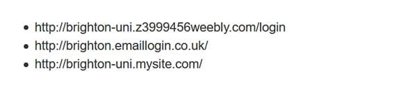 Example of fake web addresses