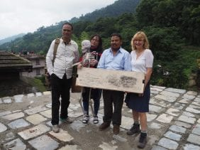 Participants in Giff Gaff taxi journey at the hill top destination