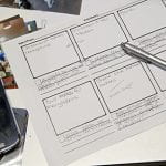 Photograph of a storyboard and phone