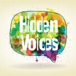 logo for Hidden Voices with words on a colourful speech bubble
