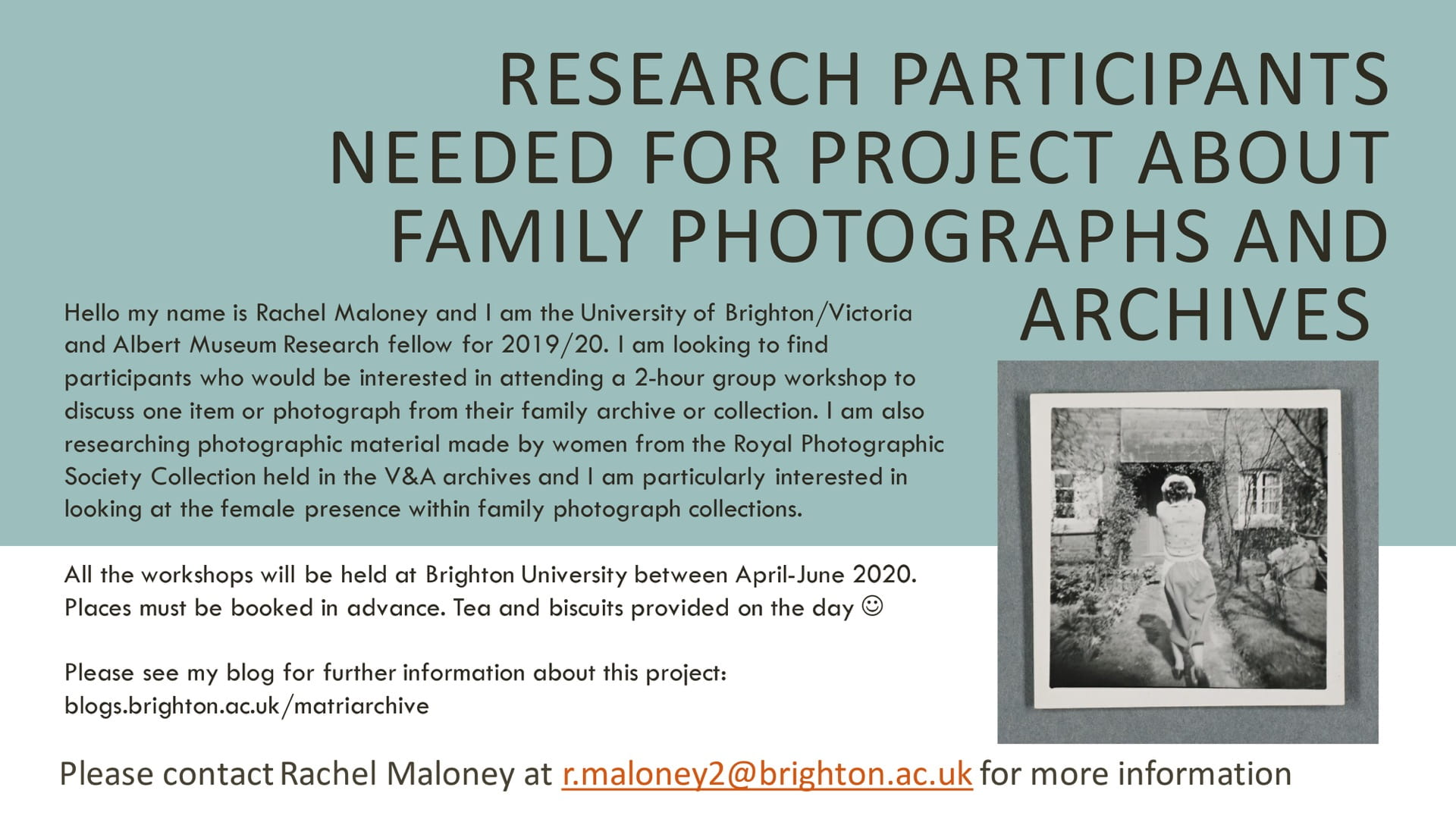 advert for research particpants to take part in this project about family photographs and archives