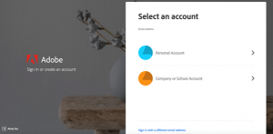 Adobe account selection screen