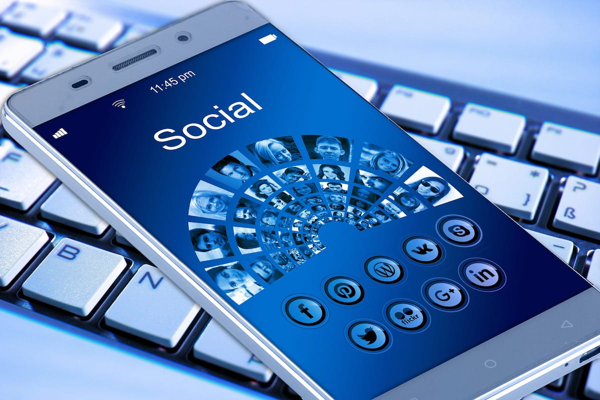 photo of smart phone with social media apps