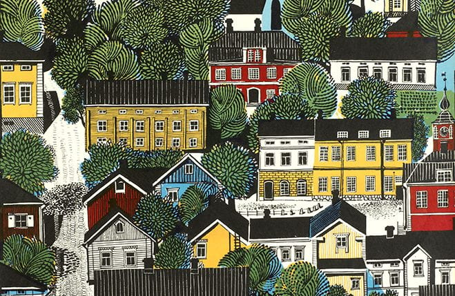 A colourful detail from a poster from the Icograda Archive, depicting the city of Porvoo in Finland. University of Brighton Design Archives.