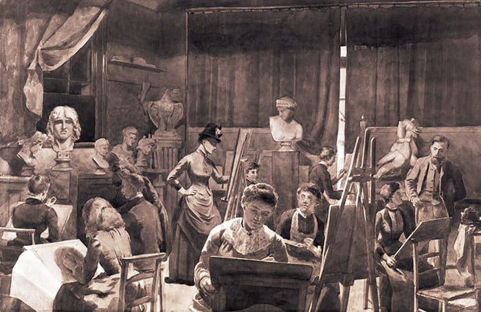 A black and white image depicting an art class taking place at the Brighton School of Art, from the late 19th century. Taken from the Brighton School of Art Archive housed at the University of Brighton Design Archives.