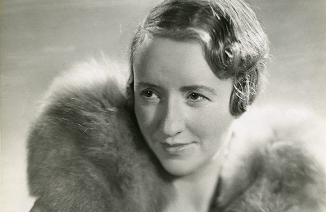 A cropped version of an original black and white portrait of Alison Settle