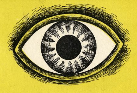 A detail of an eye on yellow background from the Black Eyes and Lemonade exhibition by Barbara Jones