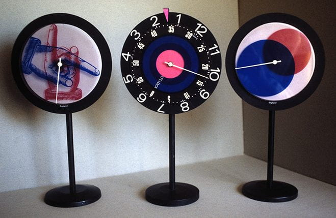 Colour photograph showing three standing clocks designed by Paul Clark. Taken from the Paul Clark Archive housed at the University of Brighton Design Archives.