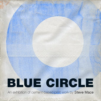 Blue Circle cement company logo, designed by FHK Henrion, reproduced on cement by artist and maker Steve Mace for the catalogue of his exhibition at the University of Brighton Faculty of Arts, Brighton, 2009.
