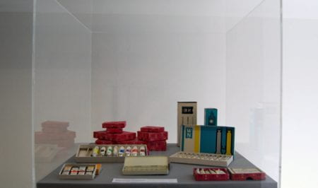 A display showing a selection of oil and pastel paints from Windsor and Newton, a company for which Arnorld Rothholz designed the packaging for. Taken from the Arnold Rothholz Archive housed at the University of Brighton Design Archives.