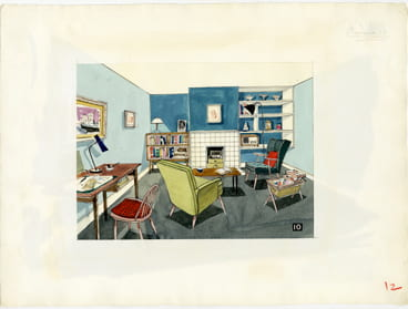 An original, collaged room layout piece showing a colourful sitting room setting from the 1950s. Taken from a set of original mixed media illustrations by David Knight (MSIA) created for the 'Colour and Pattern in the Home' booklet from the Design Council Archive held in the Design Archives.