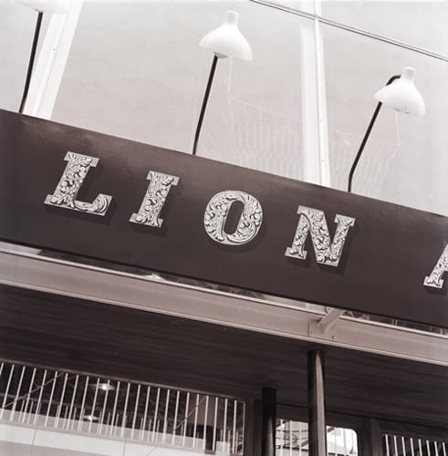 A black and white photographic image showing the lettering on the Lion and the Unicorn Pavilion at the Festival of Britain by John Brinkley. From the Design Council Archive housed at the University of Brighton Design Archives.