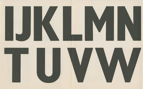 Image showing a font with some letters from the alphabet from 'The Use of Standardized lettering in Street and Transport Signs', Festival of Britain, 1951. The recommended alphabet for directional signposting was Gill Bond Condensed. Housed in the Design Council Archive at the University of Brighton Design Archives.