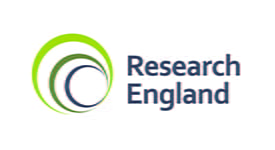 Research England logo. Blue to green spiral with text