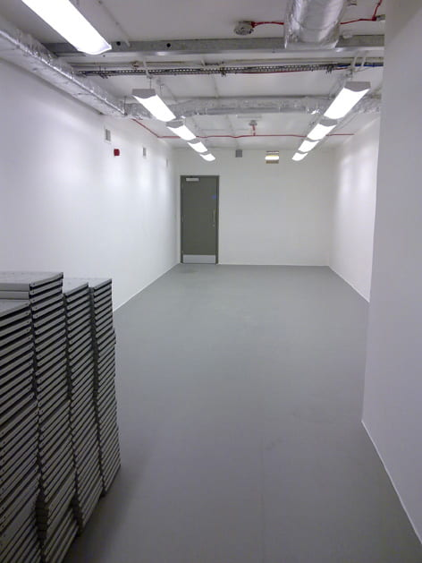 A picture showing the new Design Archives storage area space before archival shelving was installed. University of Brighton Design Archives.