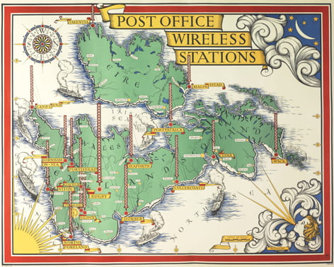 A colourful map of the United Kingdom on its side, showing the Wireless stations locations around the country (1939). Produced for the General Post Office and designed by Max Gill.
