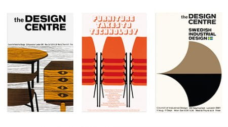 A collage of three posters from the Design Council Archive, advertising events in the Design Centre. University of Brighton Design Archives.