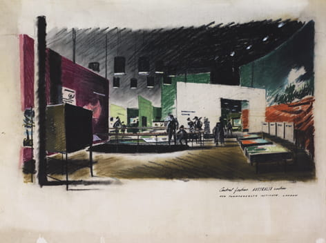 A pastel drawing on paper, depicting the Australia section at the Commonwealth Institute in 1962. Drawn by James Gardner. Taken from the Jame Gardner Archive housed at the University of Brighton Design Archives.