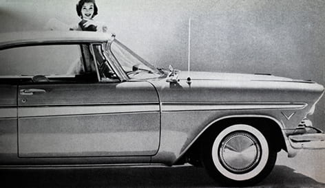 A detail from an article from the Industrial Design magazine from February 1957, showing a woman with a stylish car. Taken from the Design Council Archive housed at the University of Brighton Design Archives.