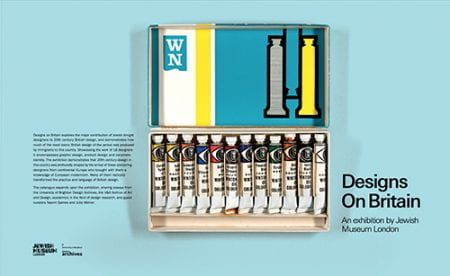 A colour image of the accompanying book cover for the Design On Britain exhibition at the Jewish Museum in London, 2017