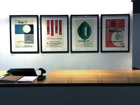 Design Centre posters from the Design Council Archive on display at Margaret Howell, Wigmore Street, London, November 2016. Photograph: Barbara Taylor.
