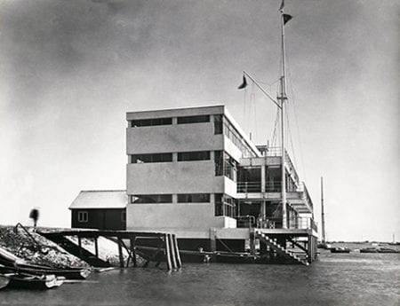 A black and white photograph showing The Royal Corinthian Yacht Club, Burnham on Crouch, 1931. Taken from the Joseph Emberton Archive housed at the University of Brighton Design Archives.