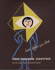 """Design Centre poster showing illustration of woman with an arrow pointing right on her head. """"Look before you shop"""""""
