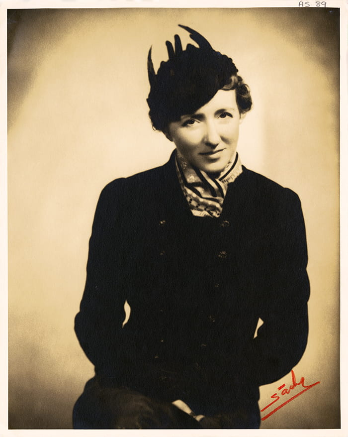 A black and white portrait photograph of Alison Settle. Taken from the Alison Settle Archive housed at the University of Brighton Design Archives.