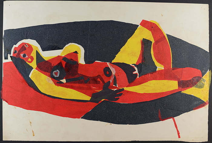 A colourful reclining female nude created by Theo Crosby from torn up pieces of tissue. Taken from the Theo Crosby Archive housed at the University of Brighton Design Archives.