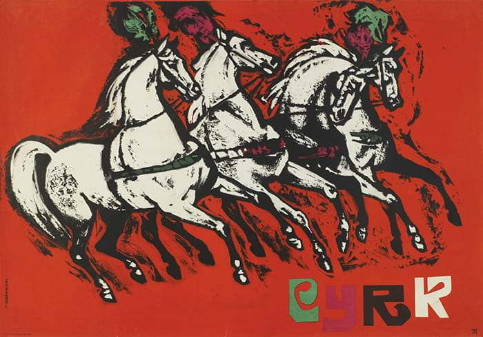 A red and white poster depicting four horses in a row with decorations on their heads. A Polish advertisement poster for the circus. Designer: Tadeusz Jodlowski. Taken from the ICOGRADA (International Council of Graphic Design Associations) Archive housed at the University of Brighton Design Archives.
