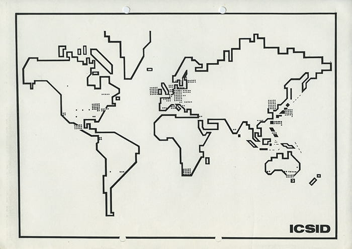 A black and white map of the world showing dots where Design Schools are located. Taken from board member Antti Nurmesniemi's file from 1981 in the ICSID Archive housed at the University of Brighton Design Archives.