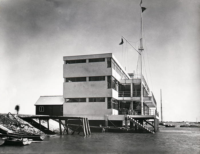 Black and white photograph showing the Royal Corinthian Yacht Club, designed by Joseph Emberton, in Burnham-on-Crouch in 1931. Taken from the Joseph Emberton Archive housed at the University of Brighton Design Archives.