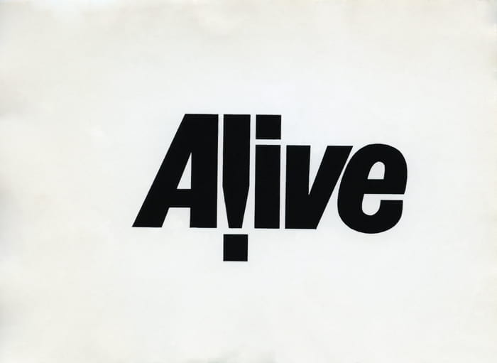 Black text stating 'Alive' on white paper for a youth group masthead, designed by Richard Hollis. Taken from the Richard Hollis Archive housed at the University of Brighton Design Archives.
