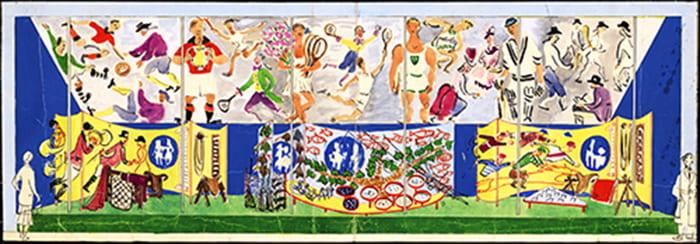 A colourful watercolour for the design for a mural at the Sports area in the People at Play section of the Festival of Britain Land Travelling Exhibition, 1951. Taken from the Dorrit Dekk Archive housed at the University of Brighton Design Archives.