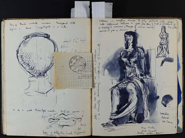 A double page spread from Alison Settle's notebook, showing a sketch for a goddess sculpture. Taken from the Alison Settle Archive housed at the University of Brighton Design Archives.