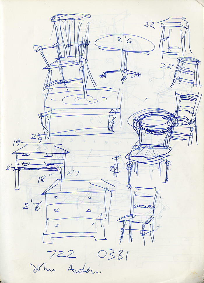 A page from Natasha Kroll's sketch book depicting sketches made in blue ink of chairs and chests of drawers. Taken from the Natasha Kroll Archive housed at the University of Brighton Design Archives.