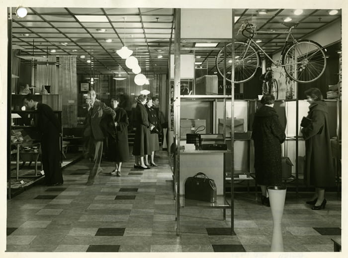 A black and white photograph showing a general view from an exhibition at the Design Centre (no date). Taken from the Bernard Schottlander Archive housed at the University of Brighton Design Archives.