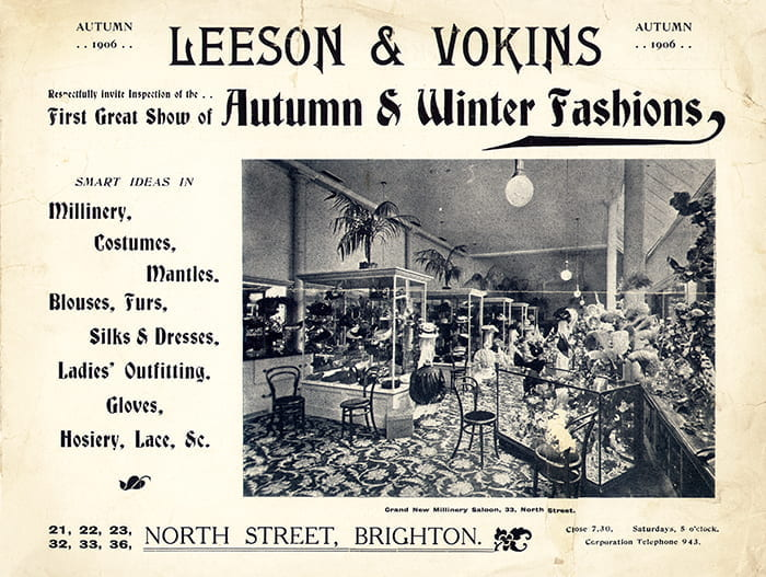 Advertisement for the Vokins Department Store from Autumn 1906, advertising their Autumn and Winter fashions. From the Vokins Archive, University of Brighton Design Archives.