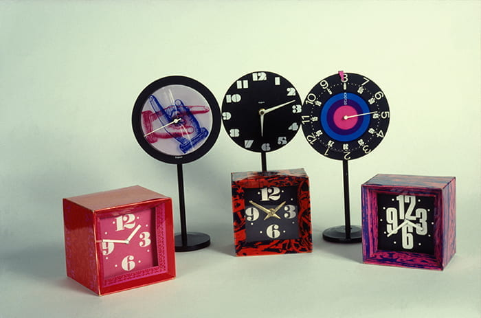 A colour transparency of a collection of six colourful clocks designed by Paul Clark between 1959 and 1962. Taken from the Paul Clark Archive housed at the University of Brighton Design Archives.