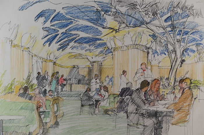 A coloured pencil drawing of a busy restaurant scene sketched by Theo Crosby. Taken from the Theo Crosby Archive housed at the University of Brighton Design Archives.