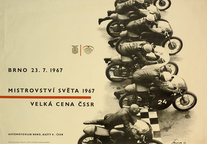 A Czechoslovakian poster with a line of motorcycles racing advertising the motorcycling world championships in Brno in 1967. Designer: Miroslav Simorda. Taken from the ICOGRADA (International Council of Graphic Design Associations) Archive housed at the University of Brighton Design Archives.