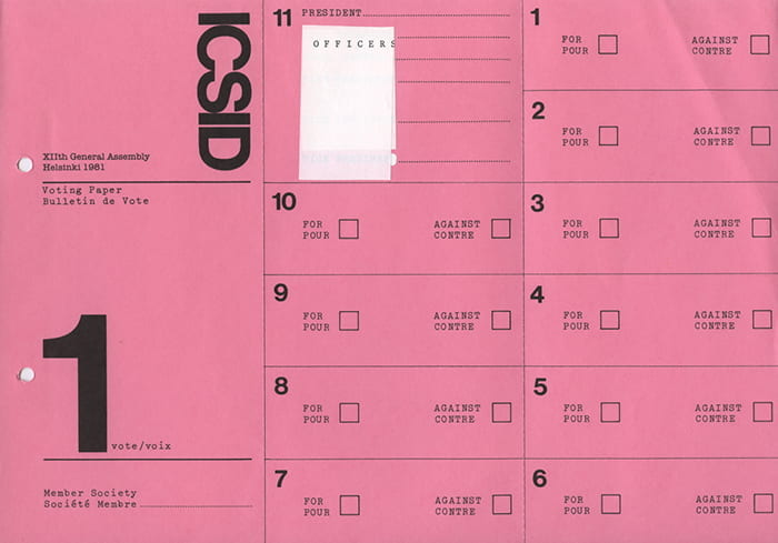 A pink printed voting paper for the members of the board from the 12th General ICSID Assembly in Helsinki held in 1981. Taken from the ICSID Archive housed at the University of Brighton Design Archives.