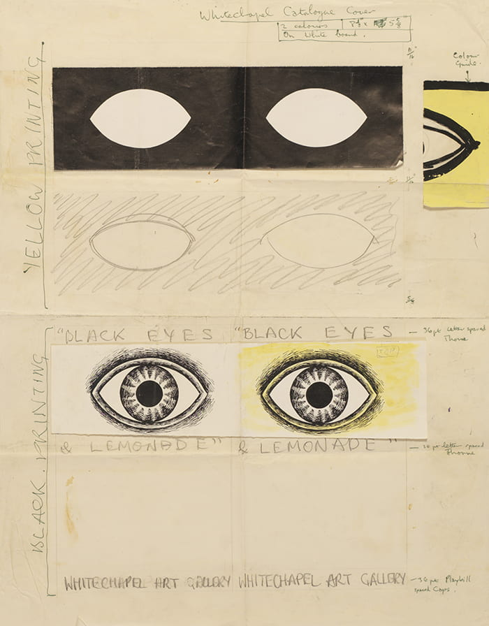 A sketch showing the eye logo created by Barbara Jones for the Black Eyes and Lemonade Exhibition held at the Whitechapel Art Gallery. Taken from the Barbara Jones Archive housed at the University of Brighton Design Archives.