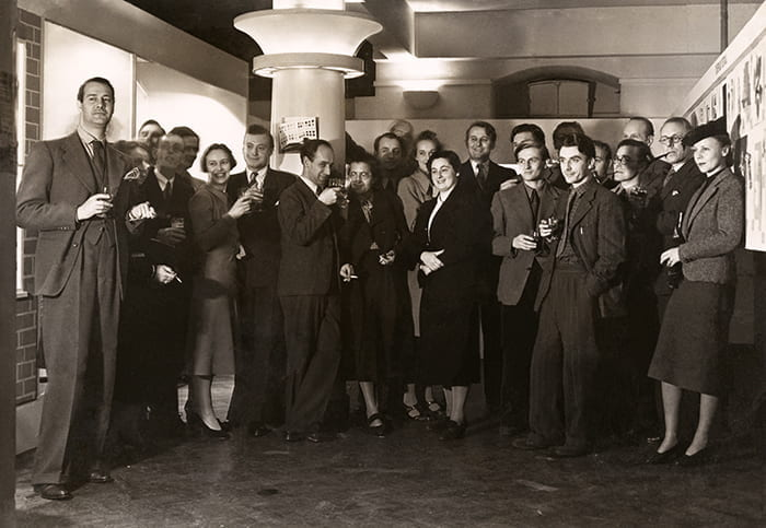 A black and white photograph showing the Reimann School of Art and Design staff, including Natasha Kroll (no date). Taken from the Natasha Kroll Archive housed at the University of Brighton Design Archives.
