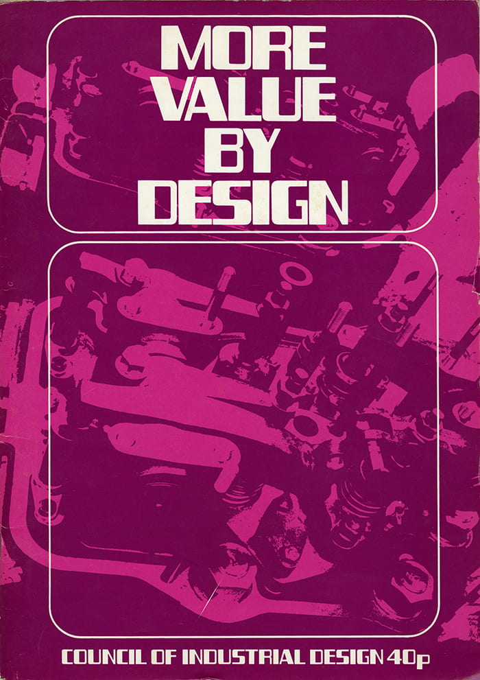 The cover of the More Value by Design book, edited by WH Mayall (1971). Published by the Council of Industrial Design. Cover design by Sally Elstub, DipAD, from valve gear of the K Major diesel engine. Taken from the WH Mayall Archive housed at the University of Brighton Design Archives.