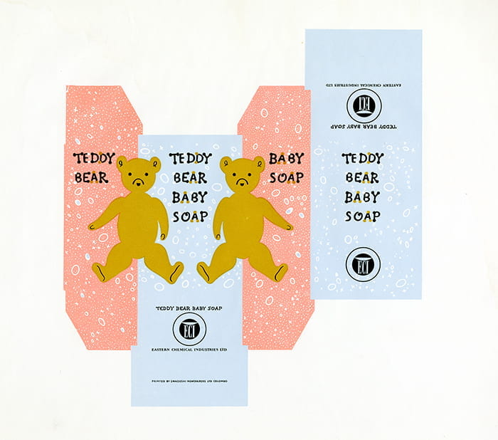A pastel coloured packaging sample for Teddy Bear Baby Soap, printed by Swadeshi Newspapers Ltd, Colombo, Ceylon in the 1950s and designed by HA Rothholz. Taken from the HA Rothholz Archive housed at the University of Brighton Design Archives.