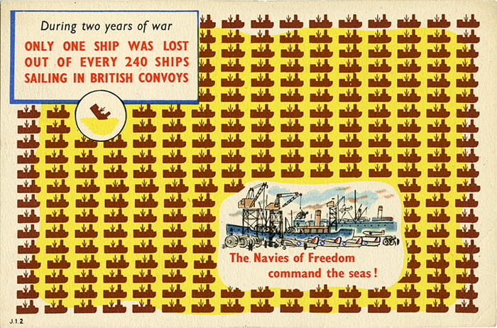 A postcard depicting facts about the British Navy from a selection of Ministry of Information printed propaganda (1939-1945) designed by Edwin J Embleton. Taken from the Edwin J Embleton Archive housed at the University of Brighton Design Archives.