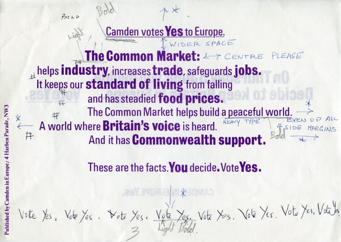 A Camden Votes Yes to Europe printed page with handwritten notes all around it. Font designed by Richard Hollis. Taken from the Richard Hollis Archive housed at the University of Brighton Design Archives.